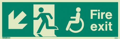 (4046) Jalite Mobility Impaired Fire Exit Down Left sign